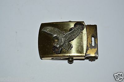 WOW Vintage Eagle 3D Slim Small Brass Belt Buckle for Canvas Belt Rare USA