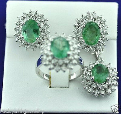 14k Solid White Gold Colombian Emerald Diamond Ring Earring Pendant Set 9.30 ct