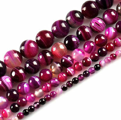New Natural Striped Agate Round Gemstone Loose Spacer Beads DIY 4 6 8 10 12mm