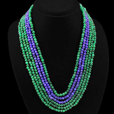 BRILLIANT TOP CLASS 480.00 CTS NATURAL EMERALD & SAPPHIRE BEADS NECKLACE $$$