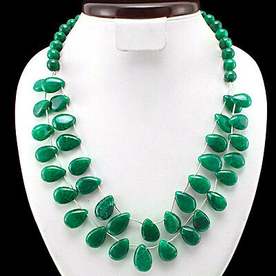 BRILLIANT TOP CLASS RARE 505.00 CTS NATURAL GREEN EMERALD BEADS NECKLACE STRAND