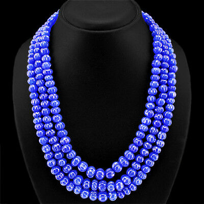 BUYERS FAVOURITE 862.00 CTS EARTH MINED BLUE SAPPHIRE CARVED BEADS NECKLACE $$$