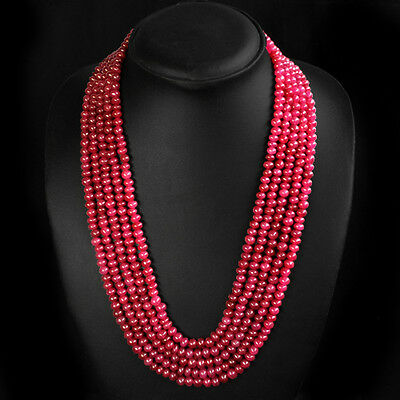 BEAUTIFUL ATTRACTIVE 473.00 CTS EARTH MINED 5 LINE RED RUBY ROUND BEADS NECKLACE