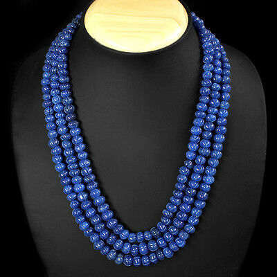 WORLD CLASS OUTSTANDING 687.00 CTS NATURAL 3 LINE BLUE SAPPHIRE BEADS NECKLACE