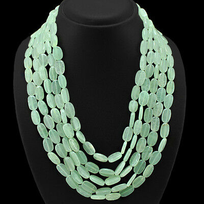 ABSOLUTELY FANTASTIC 824.00 CTS NATURAL 5 STRAND GREEN AQUAMARINE BEADS NECKLACE