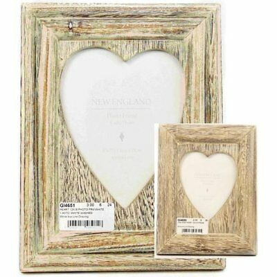 LIME WASH Wooden Photo Picture Frame Heart 5\' x 7\' Or 4 x 6 Shabby ...