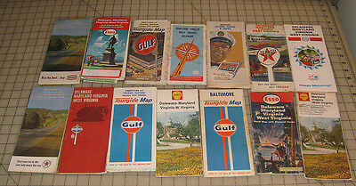 14 (1960s/70s) Gas Station MD, VA, DE, WV, DC area Fold-out Road Travel Maps