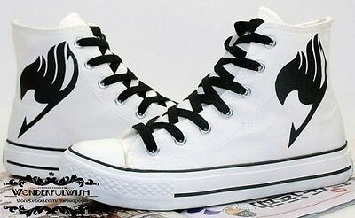 Fairy Tail Cosplay Canvas Shoes White Anime Lacing Up Ankle Sneakers Lovers