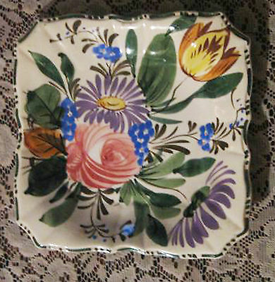 """Dish-Floral, Italy, Hand Painted-7.5""""x7.5"""" Dinner, Salad, Nice"""