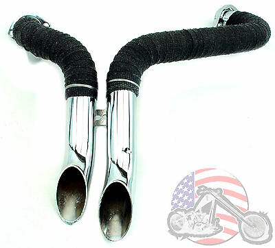 "Loud 1 3/4"" Chrome L.A.F LAF Pipes With Black Header Wrap Wrapped Exhaust Harley"