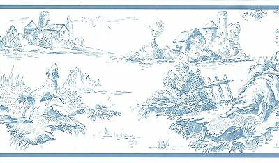 Colonial Toile Williamsbury Blue On Soft White Background Wallpapper Border