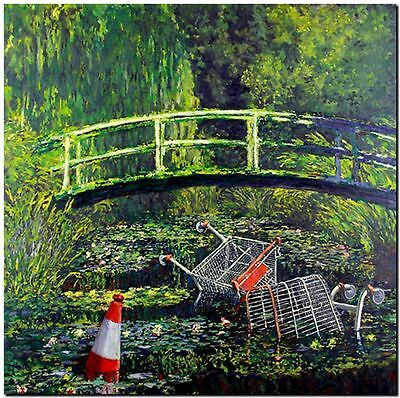 "BANKSY STREET ART CANVAS PRINT Monet Japanese bridge 8""X 12"" stencil poster"