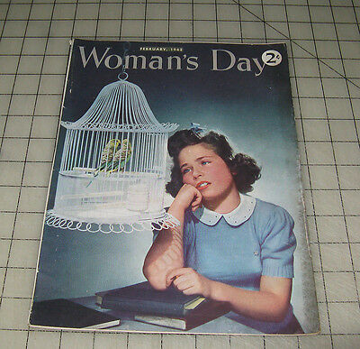 WOMAN'S DAY (February 1942) VG Condition Magazine Parakeets in Cage Cover