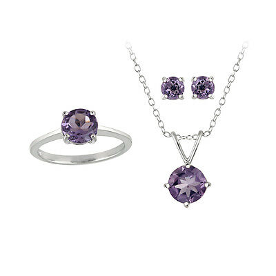 3.6ct Amethyst Pendant, Earrings & Ring Solitaire Set in 925 Silver