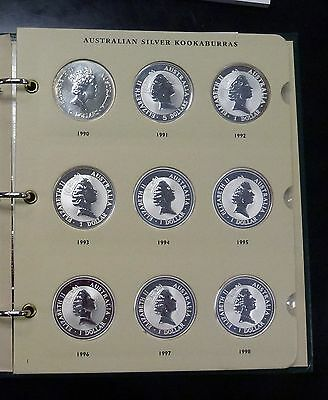 1990-2007 Australia 18 1 oz SILVER Kookabura  set in Littleton Album NICE
