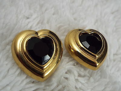 Goldtone Dark Red Crystal Heart Pierced Earrings (D53)