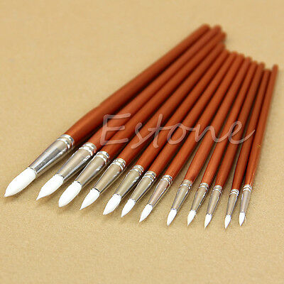 12pc Fine Red Pearl Acrylic Wooden Paint Artists Watercolor Oil Painting Brushes