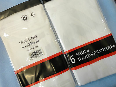 Handkerchiefs 100% Cotton Pack of Six Gents Hankies