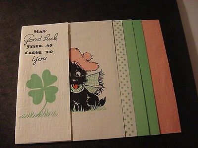 Vintage 1935 SCOTTISH TERRIER w/Pink Tam-Plaid Scarf-Multi-Page Birthday Card