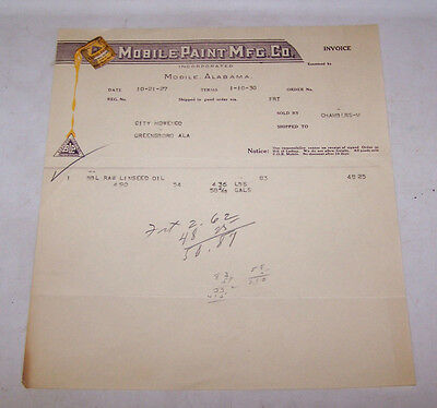 1930 MOBILE PAINT MFG COMPANY Paint Invoice ALABAMA - Paint Can Graphic