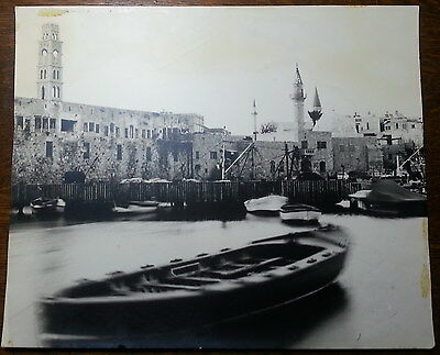 JUDAICA - ISRAEL OLD ACRE PORT  LARGE REAL PHOTO / BOATS / MOSQUE / SEA 60's