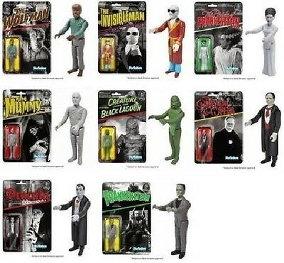UNIVERSAL MONSTERS Set of 8 Funko ReAction Retro Action Figure 3 3/4 inch