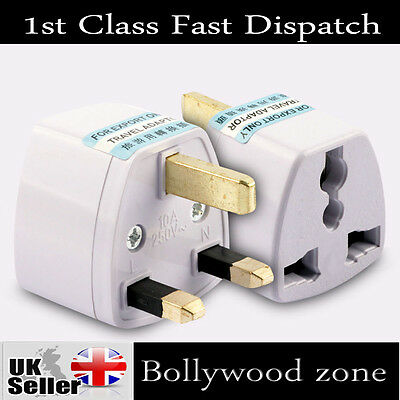 3 PIN PLUG 10A TRAVEL ADAPTOR Universal  USA* EU*CHINA*ASIA*AUSTRALIA to UK 250V