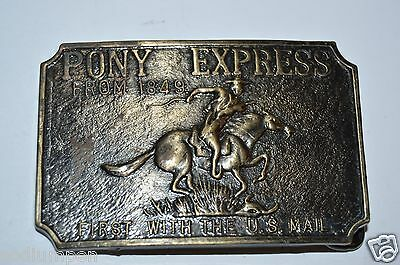 Nice Vintage Western PONY EXPRESS US Mail Brass Tone Belt Buckle RARE