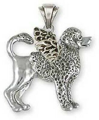 Sterling Silver Portuguese Water Dog Angel Pendant Jewelry  PWD4AP
