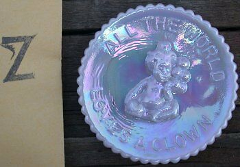 """Mosser Glass Old Mini PeeWee Clown Plate PEWTER CARNIVAL Made in Ohio """"Z"""""""