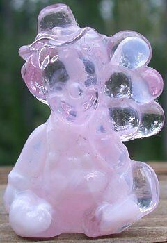 Mosser Glass Old PeeWee Clown CRANBERRY ICE & MILK Glass Made in Ohio Letter S