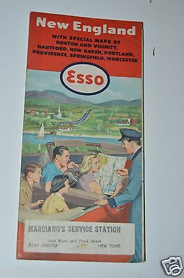 WOW Nice Vintage 1954 ESSO Gas Oil Paper Road Map of New England Boston RI CT