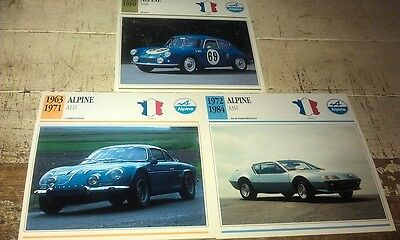 ALPINE Cars  Colour Collector Cards x 3