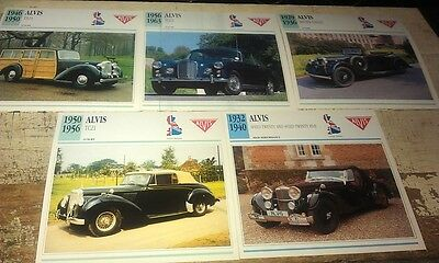 ALVIS Cars  Colour Collector Cards x 5