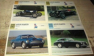 ASTON MARTIN  Cars  Colour Collector Cards x 8