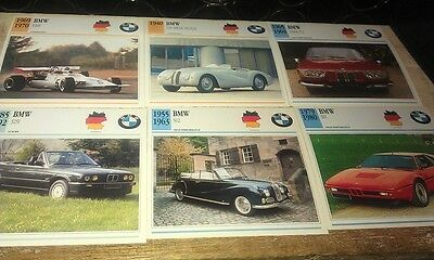 BMW Cars  Colour Collector Cards x 11    DIXI M1 etc