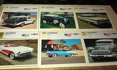 CHEVROLET  Cars  Colour Collector Cards x 6 - CORVETTE Belair etc