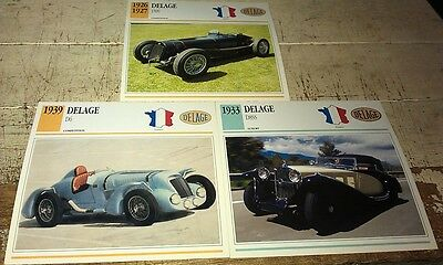 DELAGE Cars  Colour Collector Cards x 3