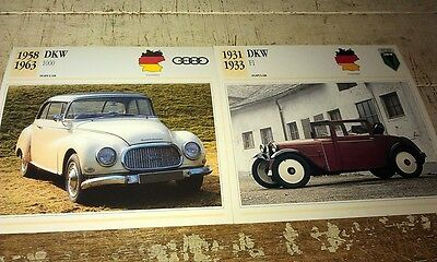 DKW Cars  Colour Collector Cards x 2