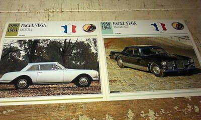 FACEL VEGA Cars  Colour Collector Cards x 2