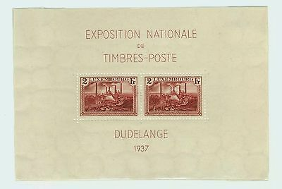 1937 Luxembourg Souvenir Sheet Special Issue National Philatelic Expo Scott #B85