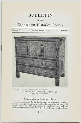 """ANTIQUE """"SUNFLOWER"""" CHESTS in the CONNECTICUT RIVER VALLEY -CHS BULLETIN, 1944"""