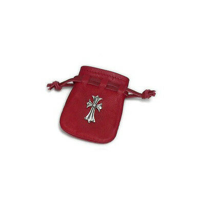 Red Cow Leather (S) Sterling Silver Pin (L) Pouch Bag