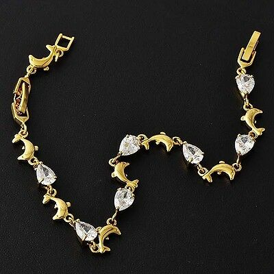 Endearing Womens Yellow Gold Filled Clear CZ Dolphin Bracelet  D5501