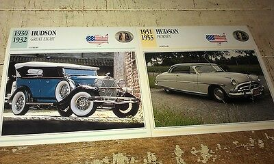 HUDSON GREAT 8 & HORNET Colour Collector Cards x 2