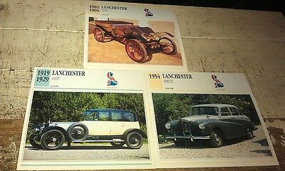 LANCHESTER  Cars  Colour Collector Cards x 3