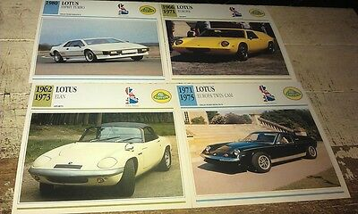 LOTUS ROAD  Cars  Colour Collector Cards x 4