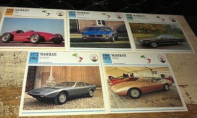 MASERATI Cars  Colour Collector Cards x 5