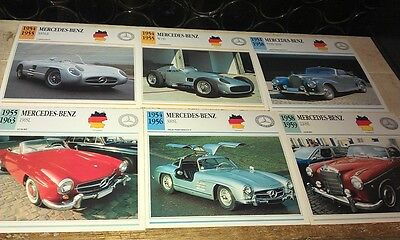 MERCEDES BENZ   Cars  Colour Collector Cards x 11 -  1950   on  GULLWING 190SL
