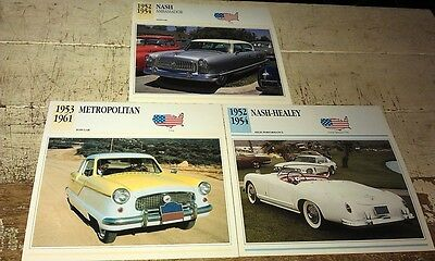 NASH & NASH HEALEY   Cars  Colour Collector Cards x 3 - METROPOLITAN